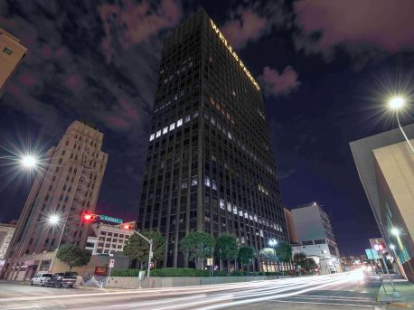 Downtown El Paso and the Wells Fargo Building at night.