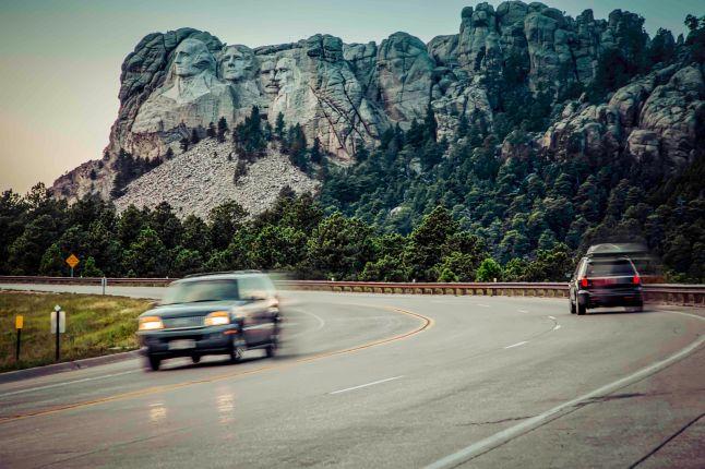 South Dakota highway 244 passing by Mount Rushmore National Memorial.