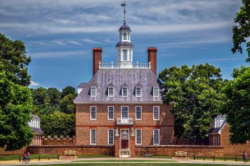 The Governor's Palace and Gardens at Williamsburg, Virginia.