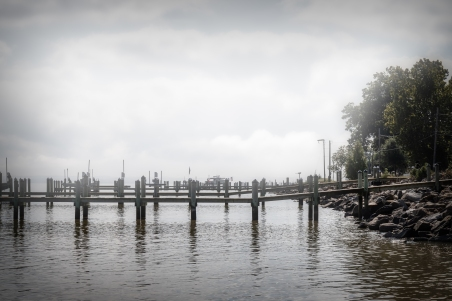 Piers leading from homes to the Potomac Rive in Colonial Beach, VA.